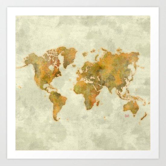World Map Yellow Vintage Art Print