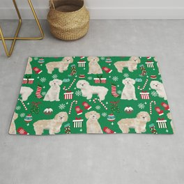 Cockapoo dog breed christmas holiday pet portrait pattern gifts Rug