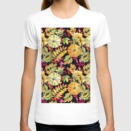 Watercolor leaves, pumpkins, sunflower. T-shirt