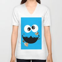 cookie monster V-neck T-shirts featuring Cookie Monster  by Lyre Aloise