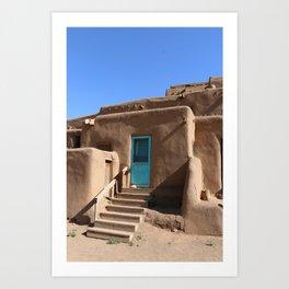 Taos Pueblo  Blue Door Art Print