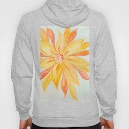 Sunburst Yellow and Orange Abstract Watercolor Flower Hoody