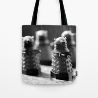robots Tote Bags featuring Robots by Emma Harckham