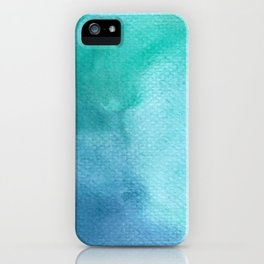 Blue Green Turquoise Watercolor Texture iPhone Case