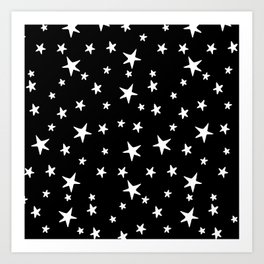 Stars - White on Black Art Print