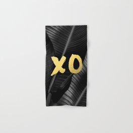 XO gold - bw banana leaf Hand & Bath Towel