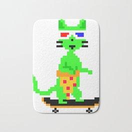"""Psychedelic Skateboarding Pixel Pizza Cat"", by Brock Springstead Bath Mat"