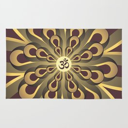 Om Mandala, Purple and Gold Fractal, Spiritual Gift, Yoga Lifestyle Rug