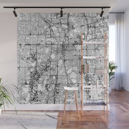 Orlando White Map Wall Mural