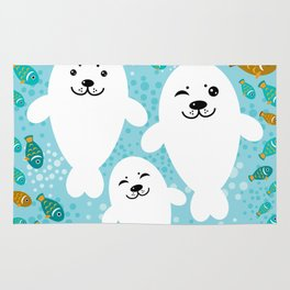 happy family of white seals and fish on a blue background. Rug