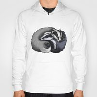 cuddle Hoodies featuring Badger Cuddle by Lyndsey Green Illustration