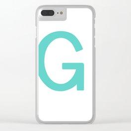 Aqua Letter G Custom Scrabble Clear iPhone Case