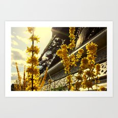 Flowers of the Eiffel Tower Art Print