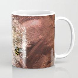 Bee Dance Mandala A - Textured Rose Gold Coffee Mug