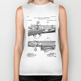 Bolt Action Rifle Patent - Repeating Receiver Art - Black And White Biker Tank