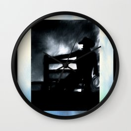 Cowboy In The Misty Night Wall Clock