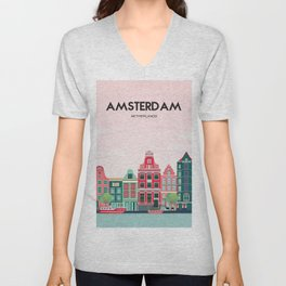 Vintage Amsterdam Holland Travel Poster Unisex V-Neck