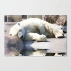 Sleepy Polar Bear ..digitally painted Canvas Print