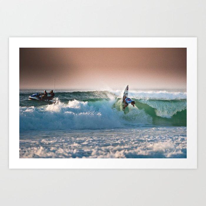 Aritz Aranburu, Surfing during world tour of surf Art Print