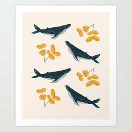 Happy Whales and Florals Pattern Art Print