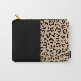 Animal Print, Leopard Spots - Brown Black Carry-All Pouch
