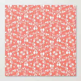 Salmon Pink Floral Pattern Canvas Print