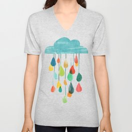 cloudy with a chance of rainbow Unisex V-Neck