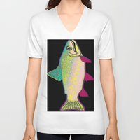 trout V-neck T-shirts featuring Neon Rainbow Trout by Florian Rodarte