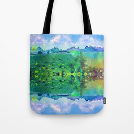 Lily pads with a Mountain View Tote Bag