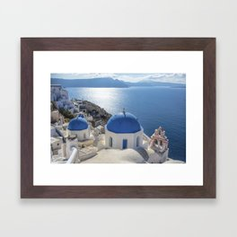 Santorini Island with churches and sea view in Greece Framed Art Print