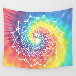 RAINBOW TIE DYE MANDALA Wall Tapestry