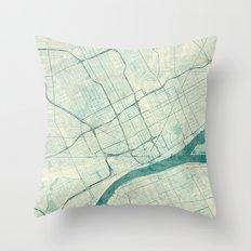 Detroit Map Blue Vintage Throw Pillow