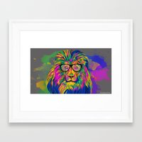 hipster lion Framed Art Prints featuring Hipster Lion by ZeebraPrint