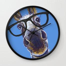 Donkey With Glasses Art, Blue Donkey Wall Clock