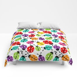 Lots of Crayon Colored Ladybugs Comforters