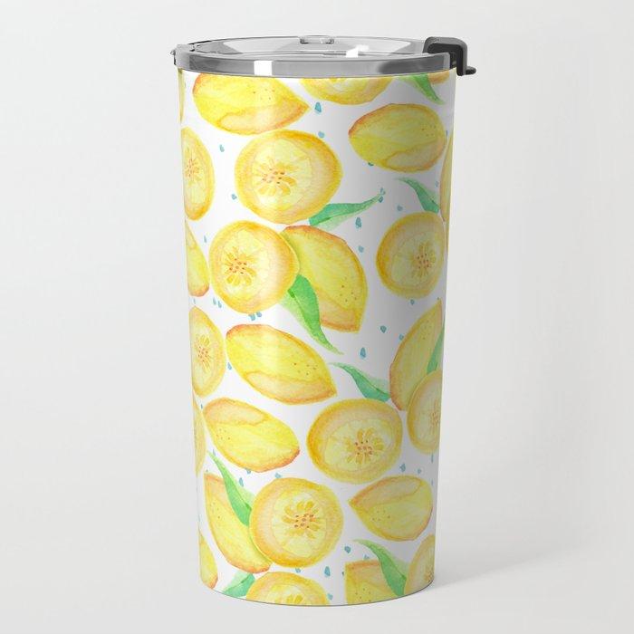 Sunshine yellow orange blue watercolor lemon fruit pattern Travel Mug