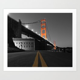 Down the Line to the Golden Gate Bridge and Fort Point Art Print