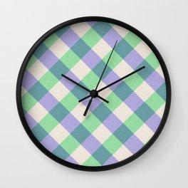 Green blue ivory violet geometric checker gingham Wall Clock