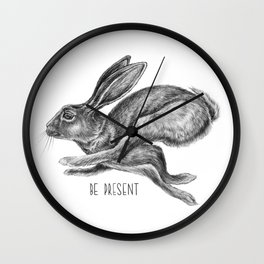 Animal Art | Hare and Quote by Magda Opoka | Animals | Black and White | black-and-white | bw Wall Clock