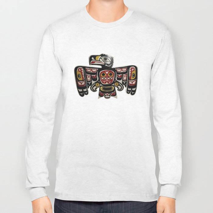 Northwest Pasific American Native Totem Cut In Wood No. 6 Long Sleeve T-shirt
