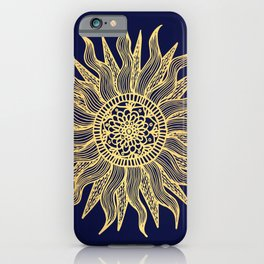 Sun Mandala Gold and Navy Blue iPhone Case