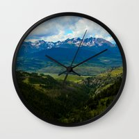 gore Wall Clocks featuring Gore Range with ranches below by Calm Cradle Photo & Design