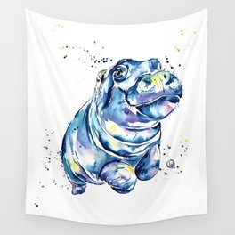Hippo Colorful Watercolor Hippo Painting - Grace Wall Tapestry