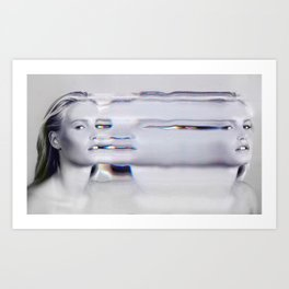 Glitch Face Melt Art Print