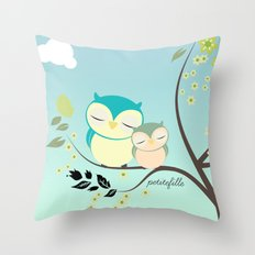 Sleeping Owls Throw Pillow