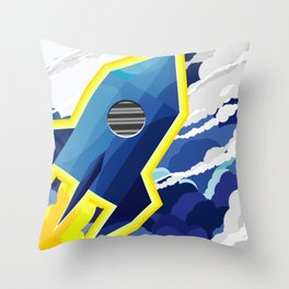 flyng rocket in space Throw Pillow