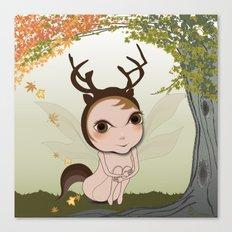Deery Fairy under Autumn Leaves Canvas Print