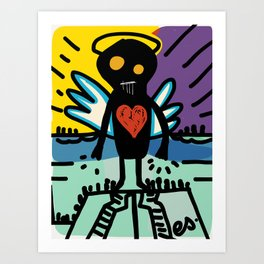 Black Angel Of Love Street Art Graffiti Scene Art Print