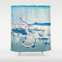 Haku the dragon japanese vintage woodblock mashup Shower Curtain