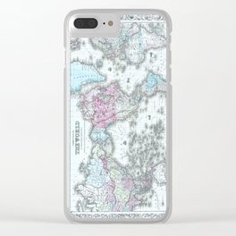 Vintage World Map 1855 Clear iPhone Case